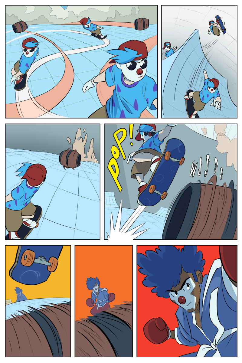 You can't see it in the last two panels but Ollie's doing a sick flip trick just for flair