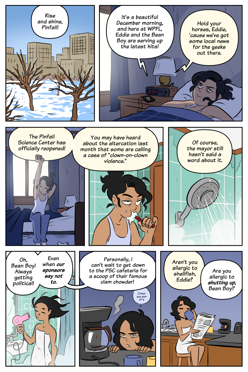 Either the dialogue and visuals are happening at a different pace, or Soto's morning routine is really dang fast